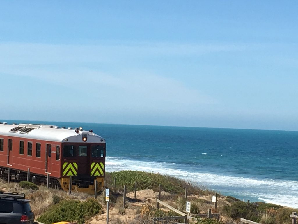 Train along beach road at  Port Elliot, South Australia