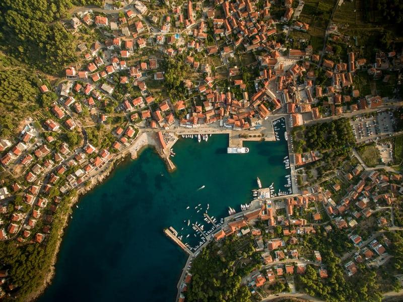 Marina with yachts houses overlooking marina