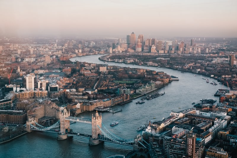 London with the Thames River and the Tower Bridge in the foreground