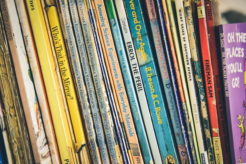 Bookshelf of of colourful children's books