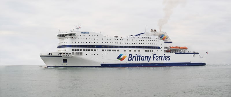 large white ferry on sea, with Brittany Ferries in writing along the side offerry, What's It Like To Retire To Southern France?