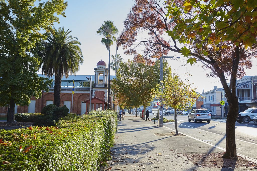 Street scene of Castlemaine wit red brock building alongside a park with several cars driving in the stret.
