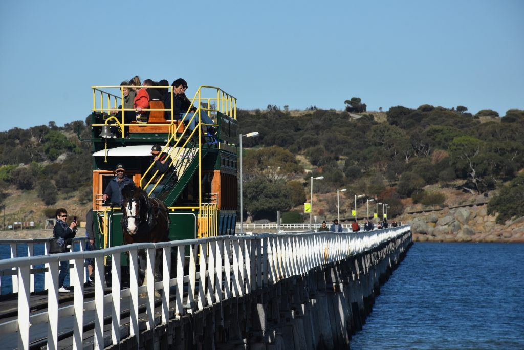 Horse tram travelling acoss the pier at Victor Harbor